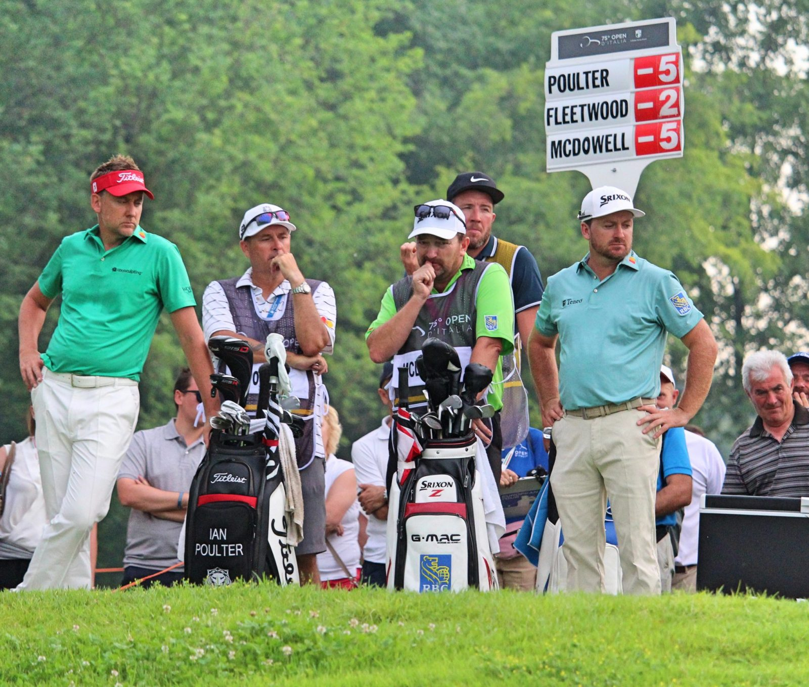 Poulter and McDowell on the 18th tee