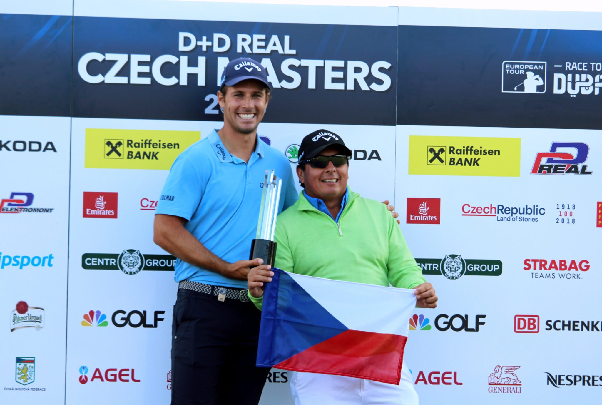 Andrea Pavan with his caddie