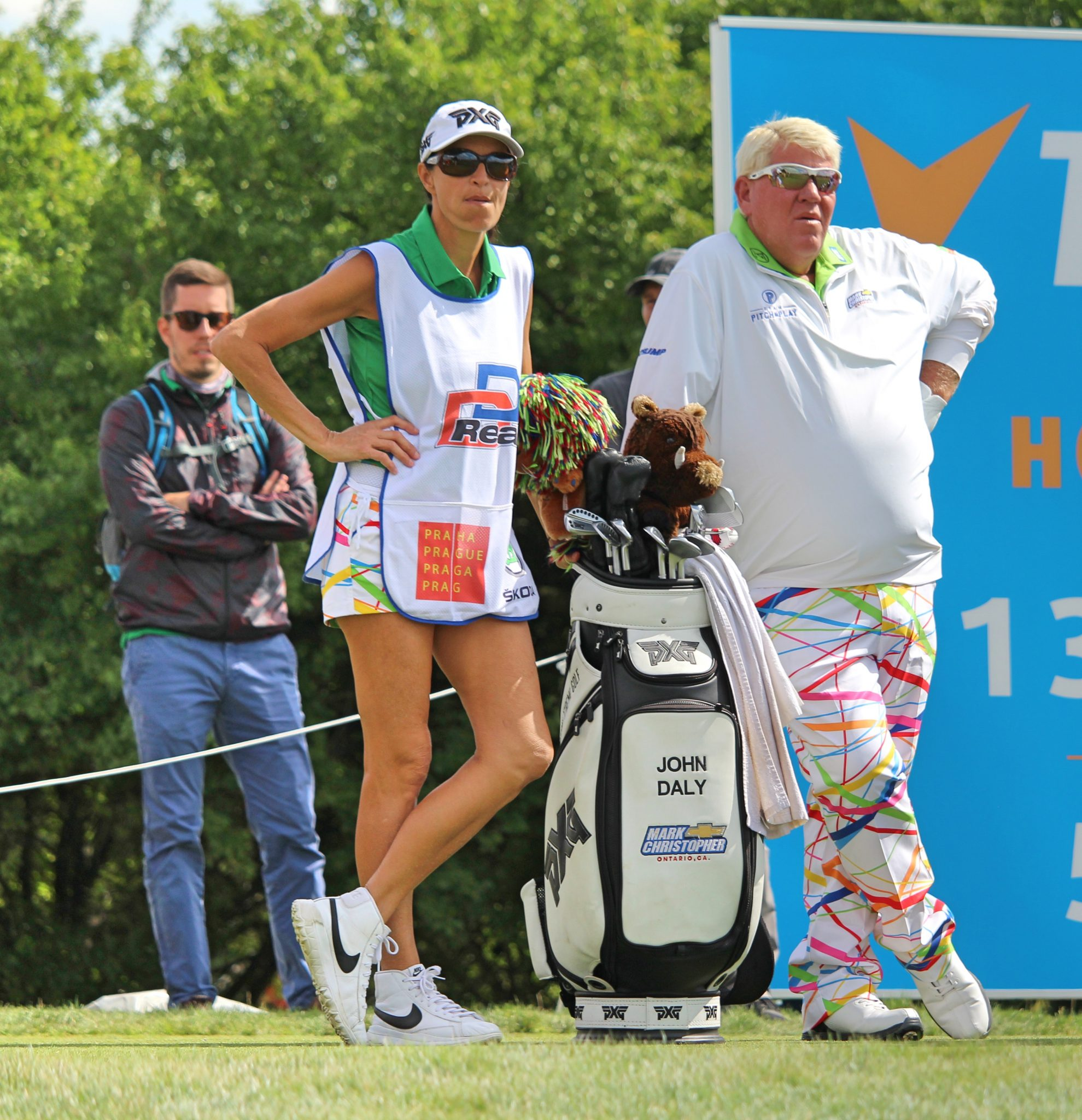John Daly with his caddie on the 13th tee