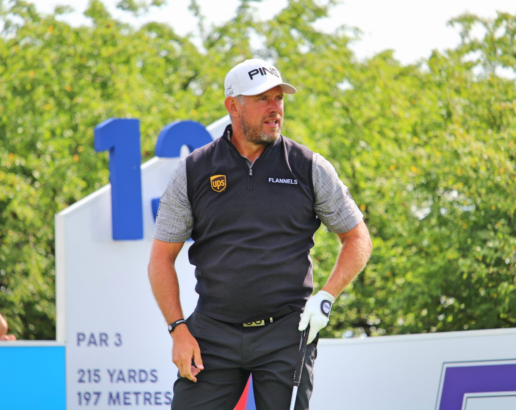 Lee Westwood on the 13th tee