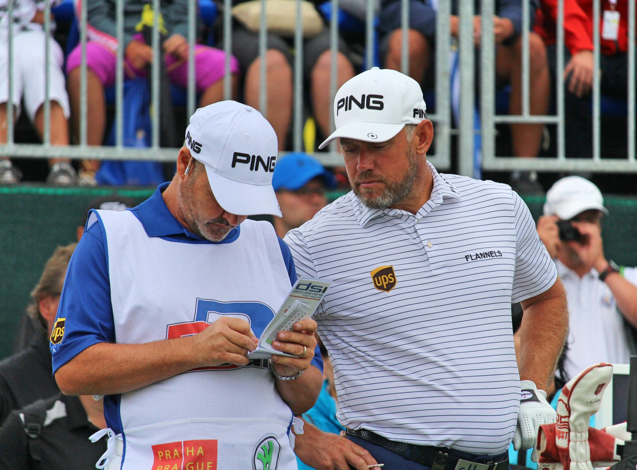 Lee Westwood with his caddy