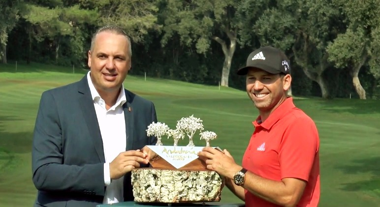 Sergio Garcia with the trophy
