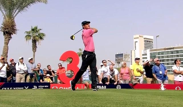 Bryson DeChambeau on the tee at Omega Dubai Desert Classic