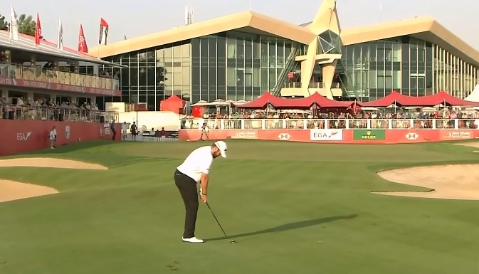 Shane Lowry on the 18th fairway in Abu Dhabi