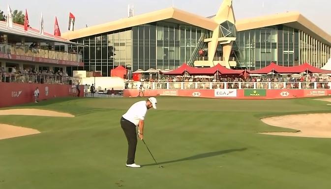 Shane Lowry on the 18th fairway in Abu Dhabi