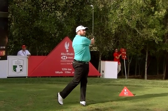 Shane Lowry on the 12th tee in Abu Dhabi