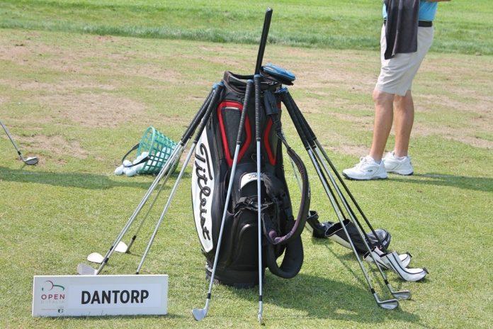 Golf bag on the driving range