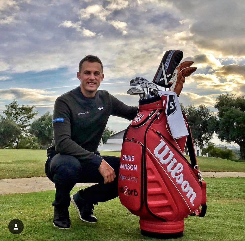 Chris Hanson alongside his golfing tour bag