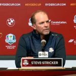 Steve Stricker talks to the media during during his Ryder Cup captaincy announcement