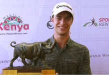 Guido Migliozzi with the trophy at the Magical Kenya Open