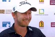 Justing Harding talks to the media after the final round of the 2019 Qatar Masters
