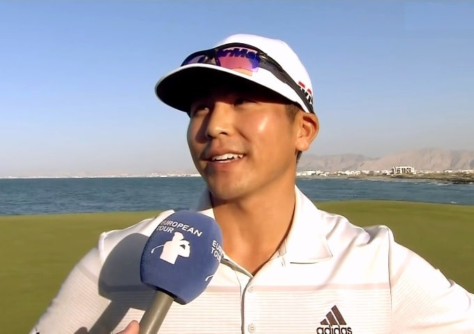 Kurt Kitayama talks to the media after his Oman Open triumph