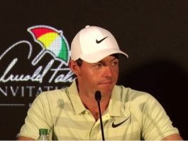 Rory McIlroy talks to the media during the Arnold Palmer invitational