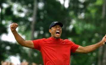 Tiger Woods celebrates his 2019 Masters win